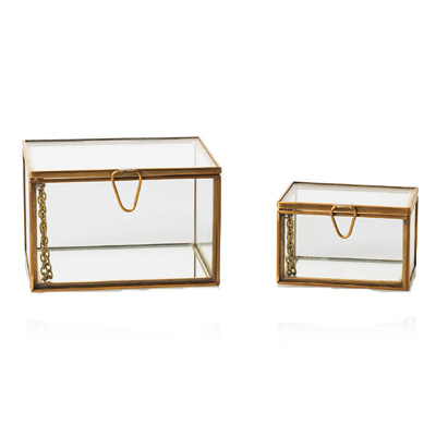 Brass Glass jewelry Box