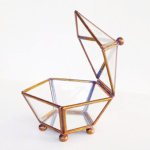 Geometry Brass Glass Box